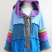 Child's Patchwork  Sweater made from Upcycled Cashmere and Wool Sweaters, Hoodie Sweater made from Recycled Sweaters, Elfin Hoodie Sweater