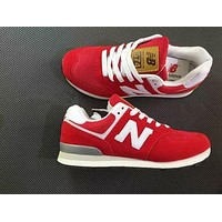 New Balance Stylish Unisex Personality All-Match N Words Breathable Couple Sneakers Shoes Red I