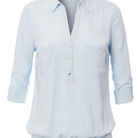 LE3NO Womens 3/4 Sleeve Button Down Blouse With Pockets (CLEARANCE)