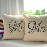 Set of 2 Mr. and Mrs. Cotton throw pillows- Covers and or Cushions - 14x14, 16x16, 18x18, 20x20