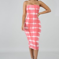 Coral Tie Dye Strapless Midi Dress