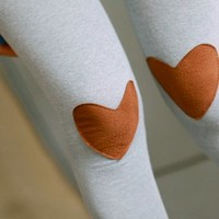 Lovely Heart Patches Leggings Grey [3315]