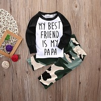 Fashion Newborn Baby Boy Clothes Long Sleeve T-shirt Top Camouflage Pant Trouser 2PCS Outfit Bebek Giyim Clothing Set Child Suit