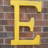 "Rustic large letter ""E"". Hand finished with a rustic shabby wood look in yellow"