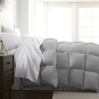 Twin Size Soft Platinum Silver Grey Luxurious Comforter - Machine Washable