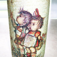 Vintage 1970 Glass Pillar Candle Holder With Hummel Little Boy & Girl Picture Covered in Sugar Beads On The Outside Lumine Lucem