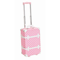 Rockland Handmade Carry-On Rolling Trunk Luggage - Pink Dot   Overstock.com