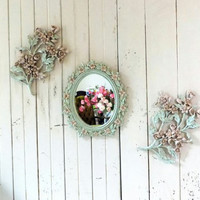 Vintage Mint and Pink Floral Ornate Mirror and Wall Plaque Collection, Syroco Small Oval Mirror and Flower Wall Hangings, Mint Nursery Decor