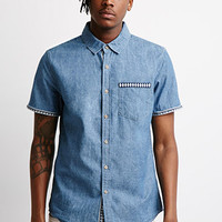 Geo-Trimmed Chambray Shirt