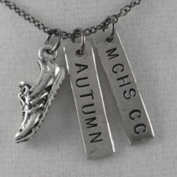 CROSS COUNTRY or TRACK RUNNING PERSONALIZED Pewter and Nickel pendants with 18 inch gunmetal chain - Perfect for Guys or Girls!