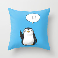 Hi Penguin Throw Pillow by Freeminds | Society6
