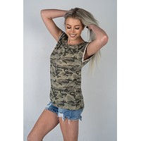 Camo Short Sleeve Top with Trim Detail