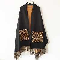 Fendi New fashion more letter print fringed shawl tassel scarf women Black