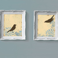 Damask Love Birds Prints Cottage Chic Shabby Large by loriamckee