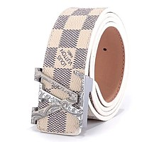 Louis Vuitton LV tide brand men and women pattern letter head smooth buckle belt