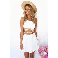 2015 Summer Fashion Women White Sleeveless Spaghett Strap Sexy Cross Strap Backless Pleats A Line Skater Casual Mini Dress