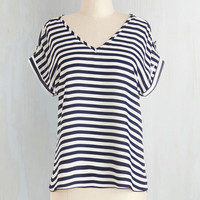 Nautical Short Sleeves Pastry Picks Top in Stripes