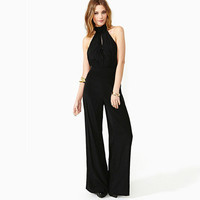 SIMPLE - Women Backless Halter Neck High Waisted Sleeveless Jumpsuit a10749