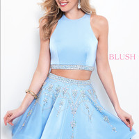 Blush 11372 Two Piece Dress with Beaded Skirt and High Neckline
