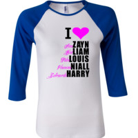 ONE DIRECTION NIALL ZAYN LIAM LOUIS HARRY BOYS NICK NAME 3/4 Sleeve Baseball Ladies Jersey