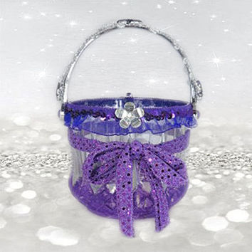 Purple Flower Girl Basket - Purple Wedding - Silver Wedding - Bling Wedding - Wedding Accessories - Flower Basket - Bridal Accessories
