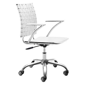 "Leather Office Chair - 23"" X 23"" X 35"" White Leatherette Office Chair"