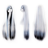 """MapofBeauty 40"""" 100cm White/Blue/Black Long Straight Cosplay Costume Wig Fashion Party Wig"""