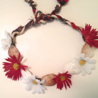 beachy red and white flower crown with shells