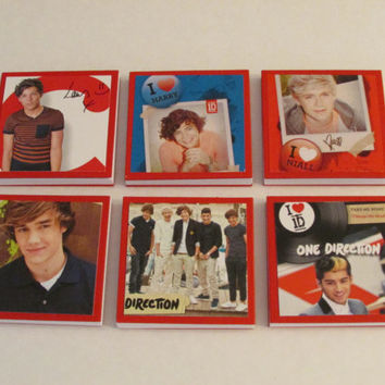 One Direction Note Pads Set of 6 - Excellent Party Favors - Harry Louis Liam Niall Zayn - Set #1