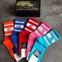 Gucci Fashion 5 pairs of set Sock Style #267