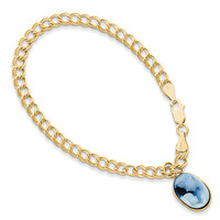 Agate Angel Bracelet in Yellow Gold - 14kt - Oval Cut - Lobster Claw: Size: 7