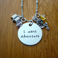 "Disney's ""Beauty and the Beast"" Inspired Necklace. Belle: I want adventure. Silver colored, Swarovski crystal, for women or girls"