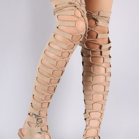 Cape Nude Open Lace Up Front Thigh High Gladiator Sandals Size 6