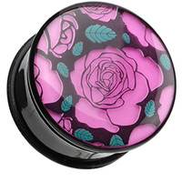 Glow in the Dark Romantic Roses Single Flared Ear Gauge Plug