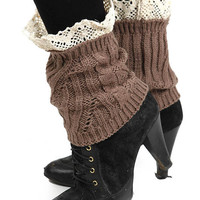 Kate Lace Accent Short Knit Leg Warmers in Brown