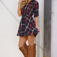 Counting The Minutes Plaid Dress - Navy