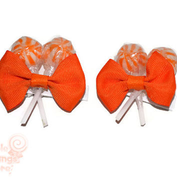 Orange Lollipop Hair Clips, Flower Girl Accessory, Candy Hair Clip, Wedding, Bridesmaid, Sweet Sixteen, Orange, Lollipop, Candyland