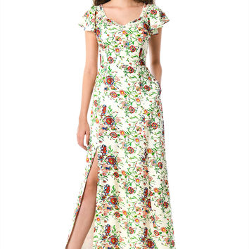 Floral print ruffle trim maxi dress