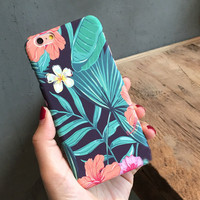 Vintage Green Fresh Leaves Case for iPhone