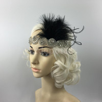 Great Gatsby 1920 Flapper Headpiece Crystal Bridal Black Feather Headband