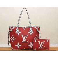 LV Fashion Color Full-print Single Shoulder Pack Two-piece Ladies'Suit Red