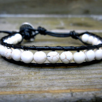 Mens Unisex Beaded Leather Single Wrap Bracelet with White Howlite Beads on Genuine Black Leather Stackable Bracelet