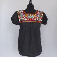 Vintage Black Floral Embroidered Cotton Mexican Peasant Blouse Shirt Country Traditional Folk  Medium Small Ethnic Shirt Boho Festival