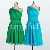 Short One Shoulder Green Ice Blue Bridesmaid Dresses Chiffon Prom Dresses Party Dresses 2014 Formal Party Evening