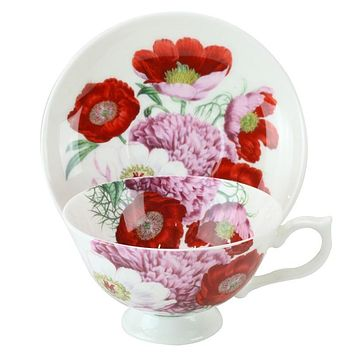 Red Poppy Bone China Teacup and Saucer Set of 4