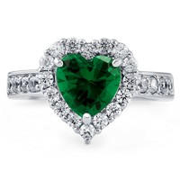 Sterling Silver Simulated Emerald CZ Halo Heart Ring 2.43 ct.twBe the first to write a reviewSKU# R976-03