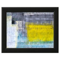 Art.com - Gray, Teal And Yellow Abstract