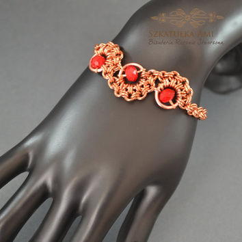 Chainmaille bracelet, red bead, copper bracelet, copper chainmaille, bracelet weave, red crystal  bracelet, steampunk, jewelry gifts,