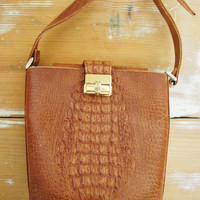 Croc and Loc - Vintage 90s Faux Crocodile Brown Bucket Bag Purse