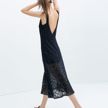 V-BACK LACE DRESS WITH LINING